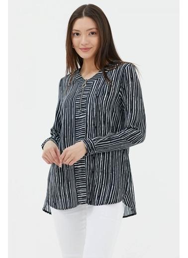 Sementa Çizgi Desen Uzun Kol Bluz - Siyah Siyah
